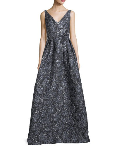 Sleeveless V-Neck Metallic Floral-Jacquard Evening Gown