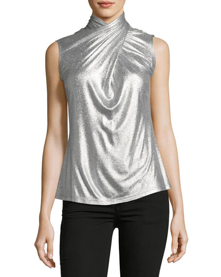 Elie Tahari Landon Metallic-Knit Top