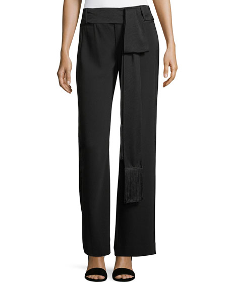 Wide-Leg Belted Crepe Pants