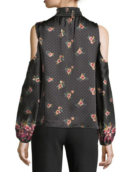 Jardin Mock-Neck Dotted Floral-Print Satin Blouse