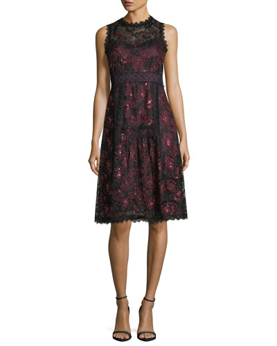 Ruby Sleeveless A-Line Lace Cocktail Dress w/ Sequins