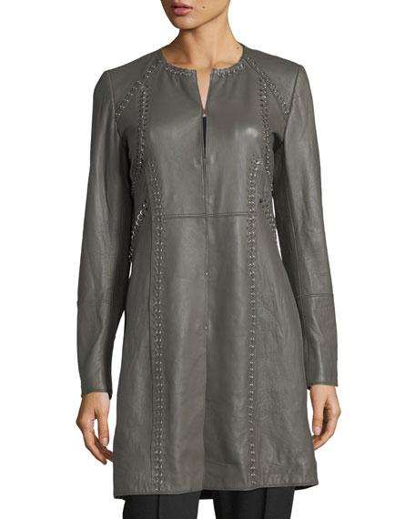 Veeda Stitch-Embellished Leather Coat