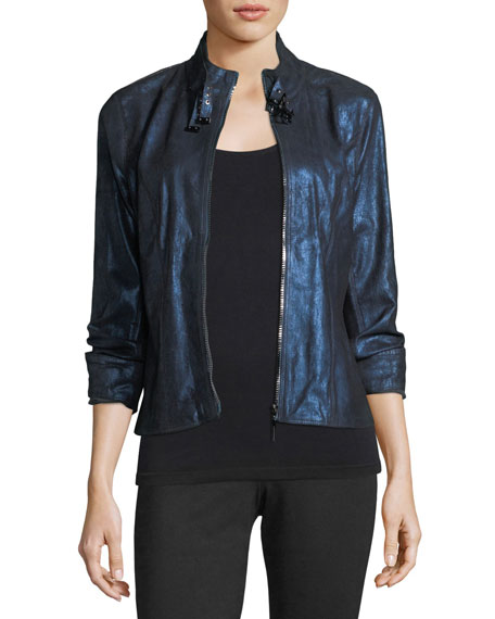 Elie Tahari Bently Metallic-Leather Jacket