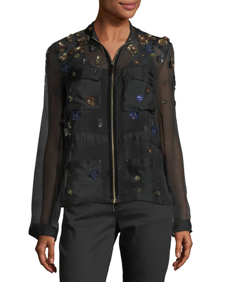 Katya Floral-Applique Silk Jacket