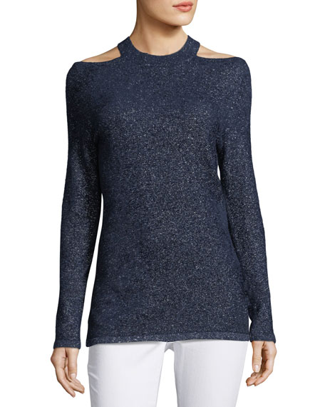 Elie Tahari Brodly Cold-Shoulder Metallic-Knit Sweater
