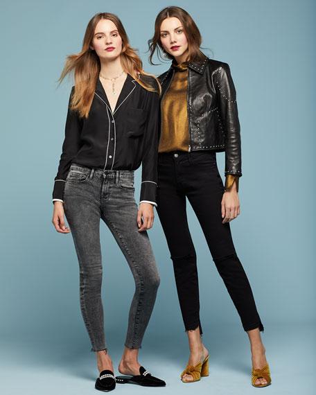 Le Skinny Raw-Edge Faded Jeans