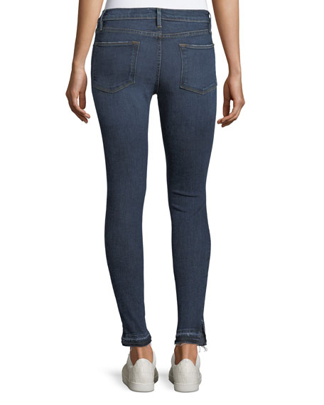 Le High Side-Slit Skinny-Leg Jeans w/ Released Hem