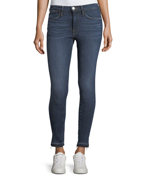 FRAME Le High Side-Slit Skinny-Leg Jeans w/ Released