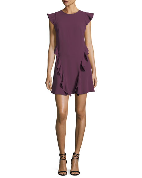 Sibley A-Line Cap-Sleeve Crepe Dress w/ Ruffled Trim