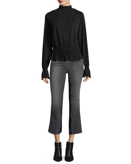 Le Crop Mini Boot-Cut Gusset Ankle Jeans w/ Raw-Edge