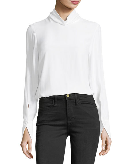 FRAME Turtleneck Long-Sleeve Silk Blouse