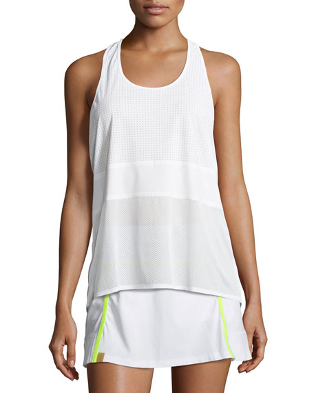 Scoop-Neck Racerback Performance Tank, White