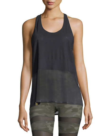 Scoop-Neck Racerback Performance Tank, Black