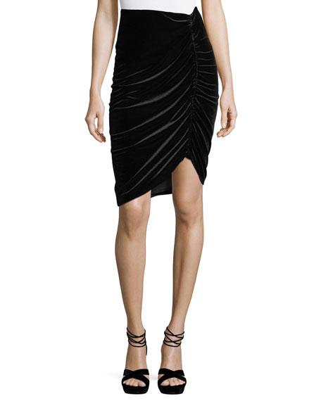 Nanette Lepore Hypnotist Ruched Velvet Pencil Skirt