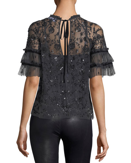 Constellation Short-Sleeve Sequin Tulle Top