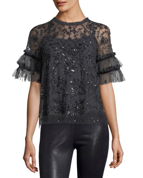 Needle & Thread Constellation Short-Sleeve Sequin Tulle Top