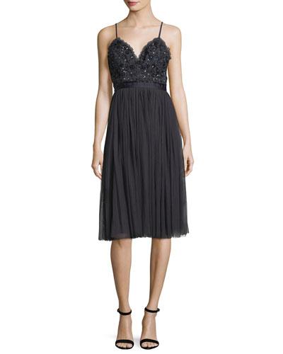 Midnight-Lace Sleeveless Midi Cocktail Dress