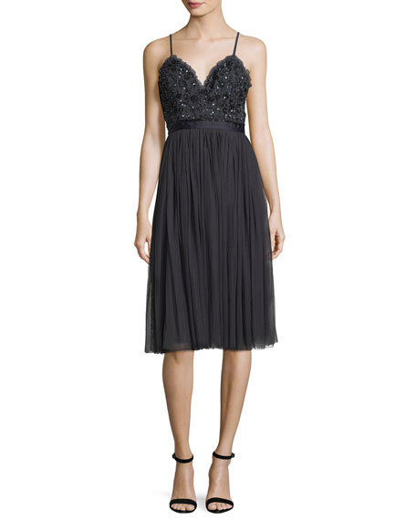 Needle & Thread Midnight-Lace Sleeveless Midi Cocktail Dress