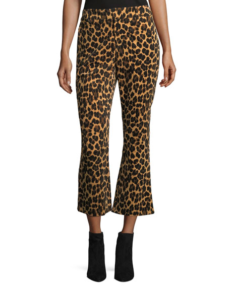 FRAME Cheetah-Print Cropped Flared Pants