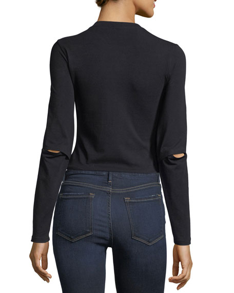 Elbow-Slit Long-Sleeve Cropped Cotton Top