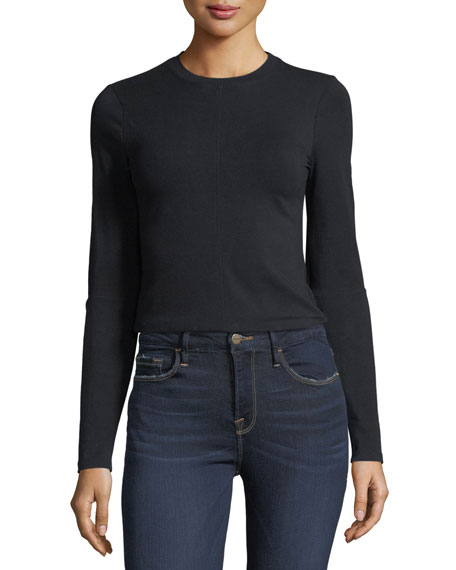 FRAME Elbow-Slit Long-Sleeve Cropped Cotton Top