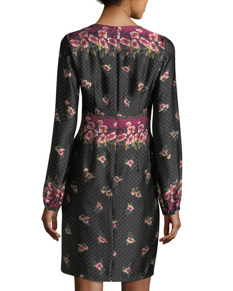 Dotted Satin Floral Border-Print Long-Sleeve Day Dress