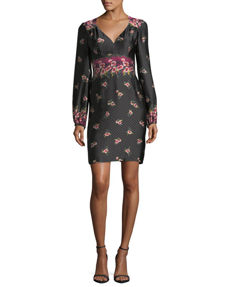 Nanette Lepore Dotted Satin Floral Border-Print Long-Sleeve Day