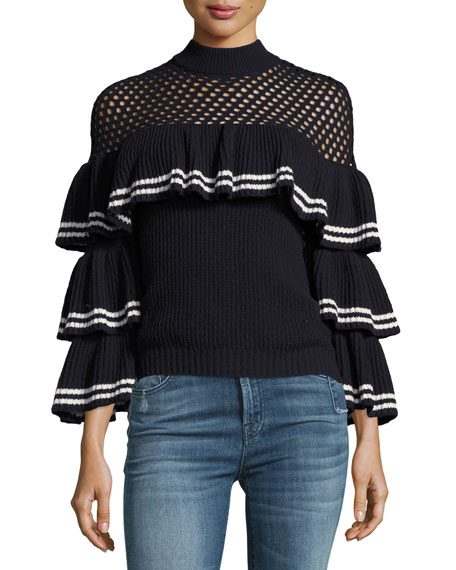 Self-Portrait Striped Frill Long-Sleeve Rib-Knit Wool Sweater