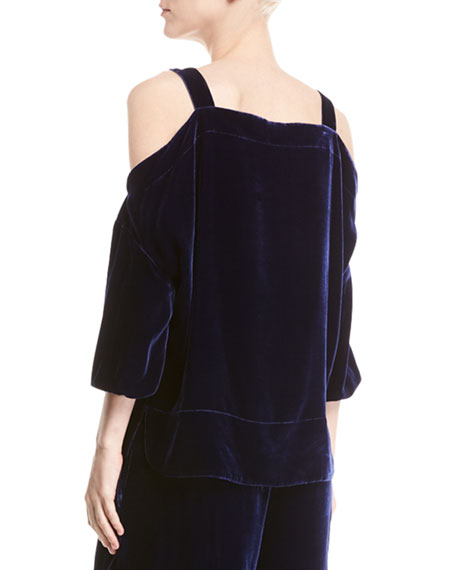 Velvet Cold-Shoulder Top