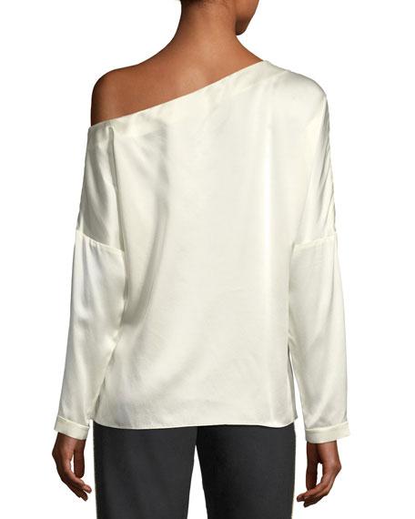 Crepe Back Satin Asymmetric Long-Sleeve Top