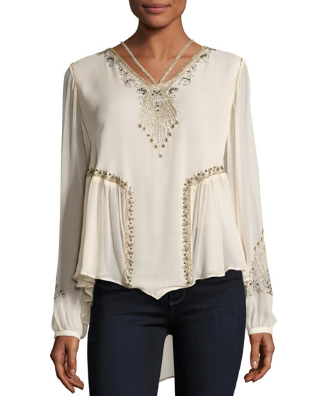 Haute Hippie Galaxy Long-Sleeve Embellished Silk Top