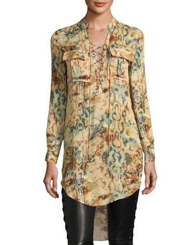 Hellfire Lace-Up Printed High-Low Silk Blouse