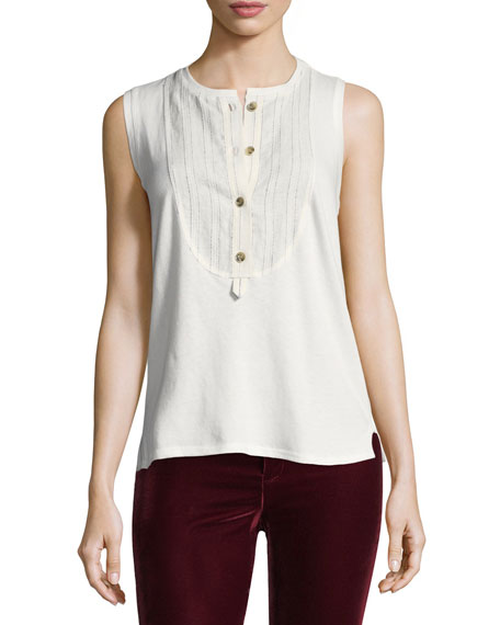 Derek Lam 10 Crosby Sleeveless Henley Cotton Top