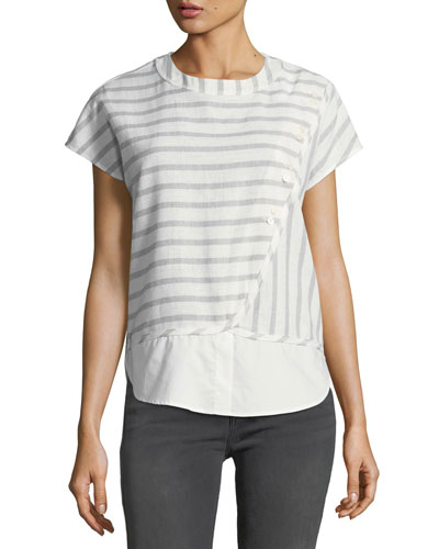Striped Crewneck Boxy Crossover Top w/ Buttons