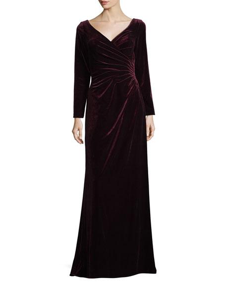 La Femme Long-Sleeve Velvet Evening Gown w/ Ruching