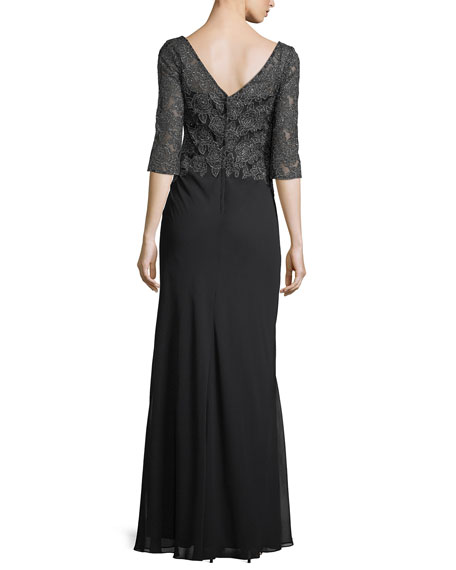 Elbow-Sleeve V-Neck Crepe Chiffon Evening Gown
