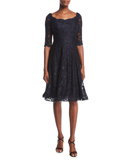 La Femme Half-Sleeve Lace Fit-&-Flare Cocktail Dress