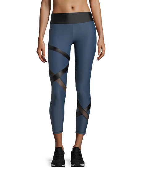 Lanston Atlas Band Cropped Performance Leggings