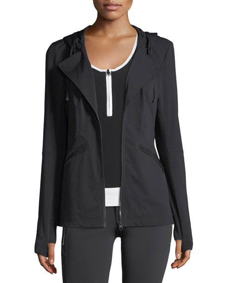 Blanc Noir Vibe Zip-Front Hooded Performance Jacket