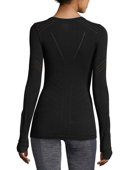 Magnetic Long-Sleeve Perforated Mesh Top