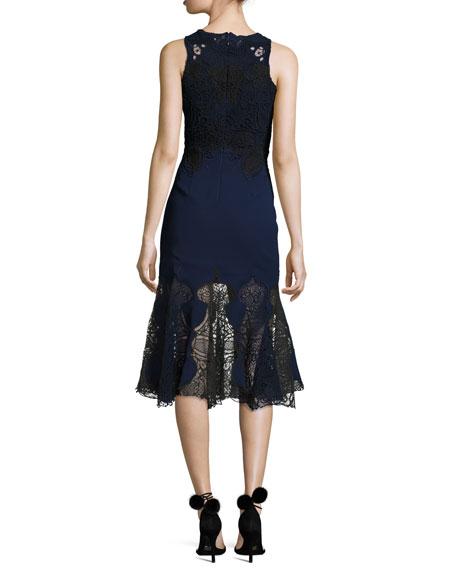 Thread Mesh Window Lace Trumpet Midi Dress