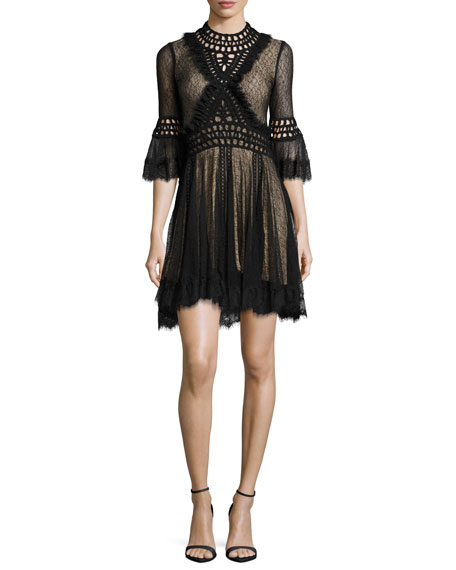 Jonathan Simkhai Crochet Panel Corded Mesh Mini Dress