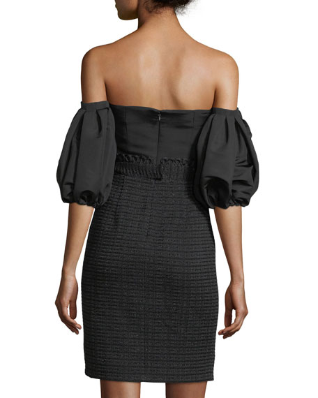 Off-the-Shoulder Polished Tweed Bustier Sheath Dress