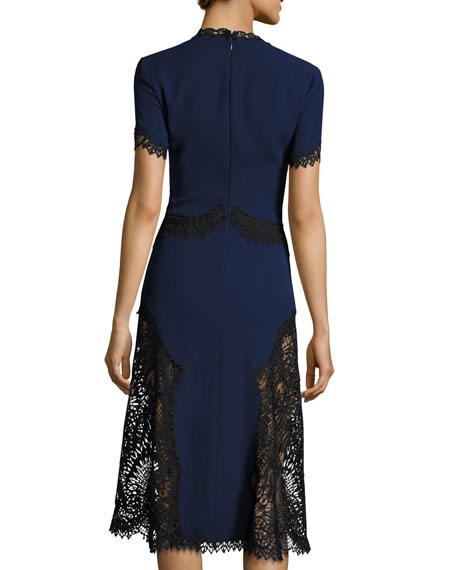 Two-Tone Short-Sleeve Embroidered Crepe Dress