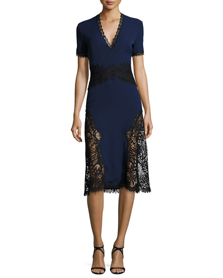 Jonathan Simkhai Two-Tone Short-Sleeve Embroidered Crepe Dress