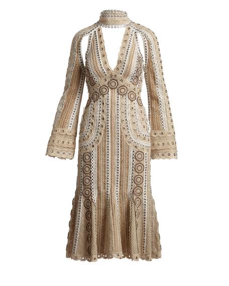 Gladiator Metal-Trim Long-Sleeve Dress