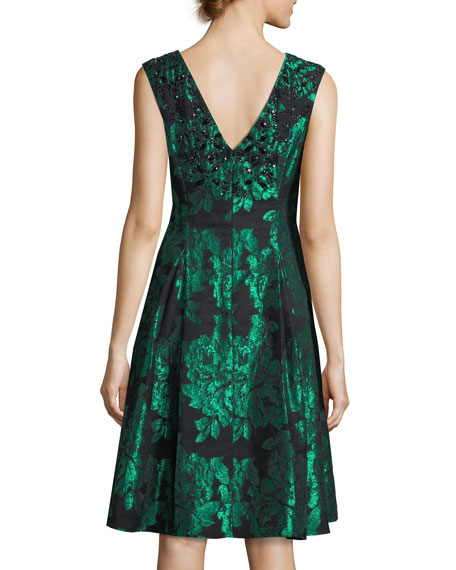 Sleeveless Embellished Floral Jacquard Cocktail Dress