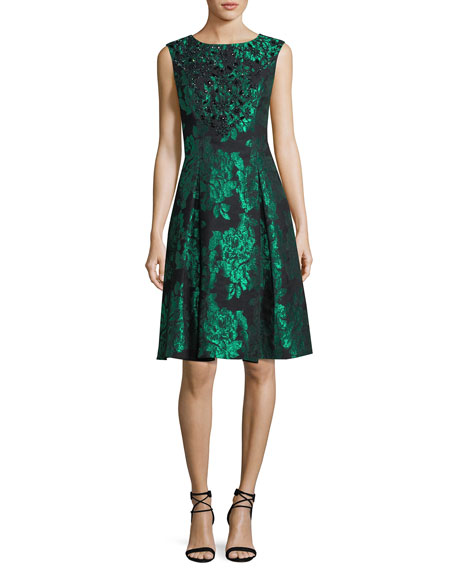 Aidan Mattox Sleeveless Embellished Floral Jacquard Cocktail