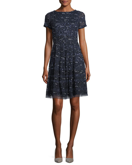 Aidan Mattox Short-Sleeve Sequined Cocktail Dress