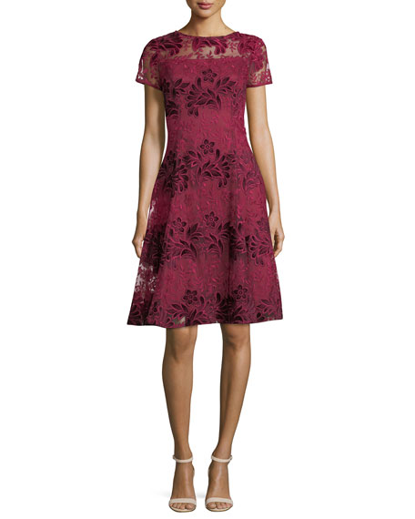 Aidan Mattox Short-Sleeve Floral Lace Cocktail Dress